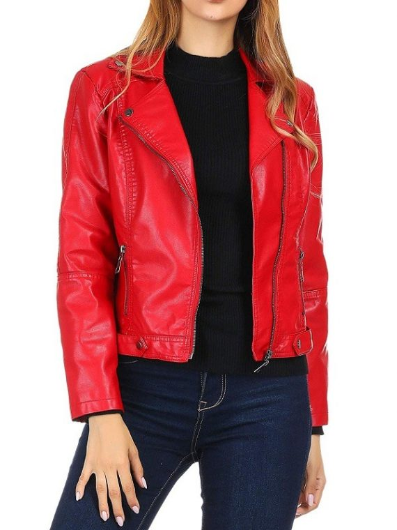 Women's Moto Biker Red Jacket