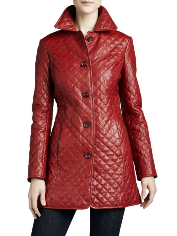 Women Quilted Leather Coat,
