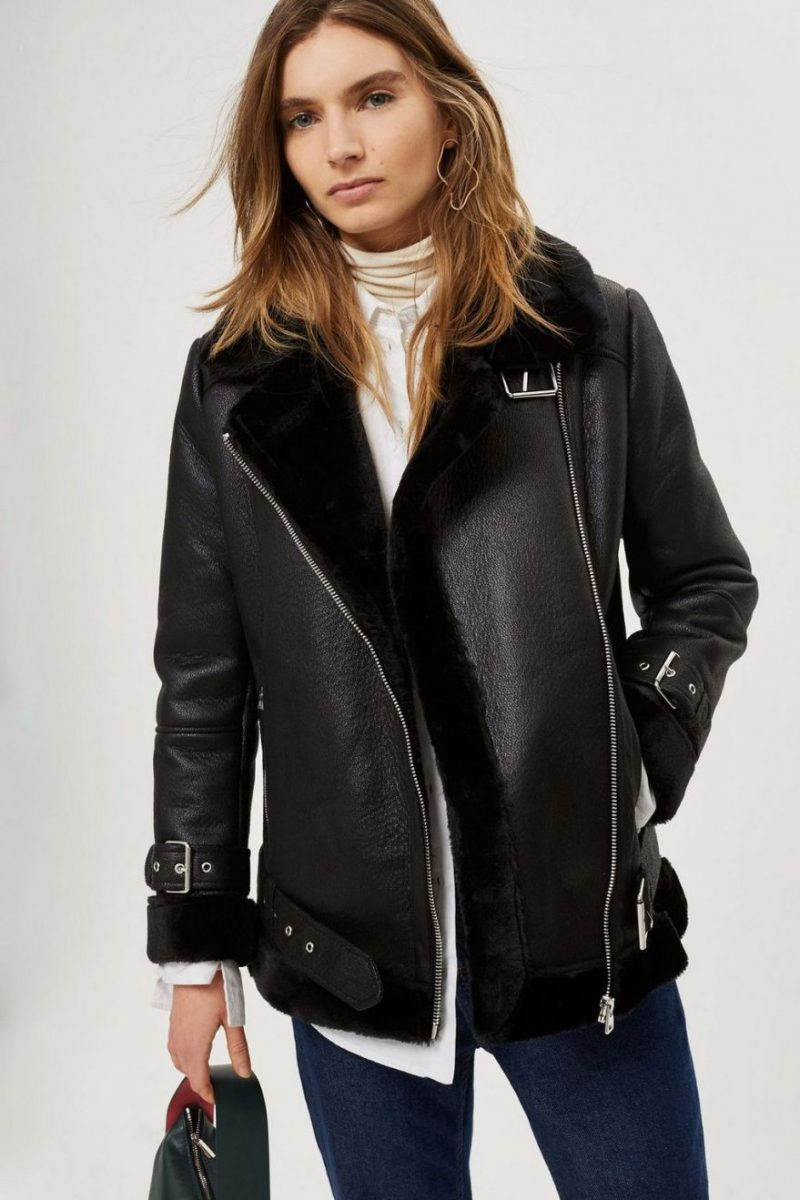 B-3 Bomber Faux Shearling Leather Jacket (4)