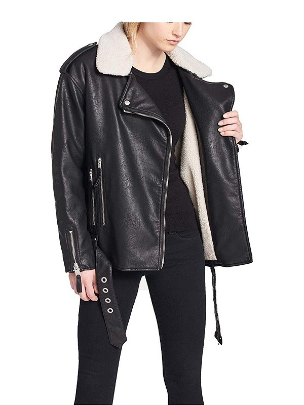 Women's Faux Fur Collar Motorcycle Black Leather Jacket