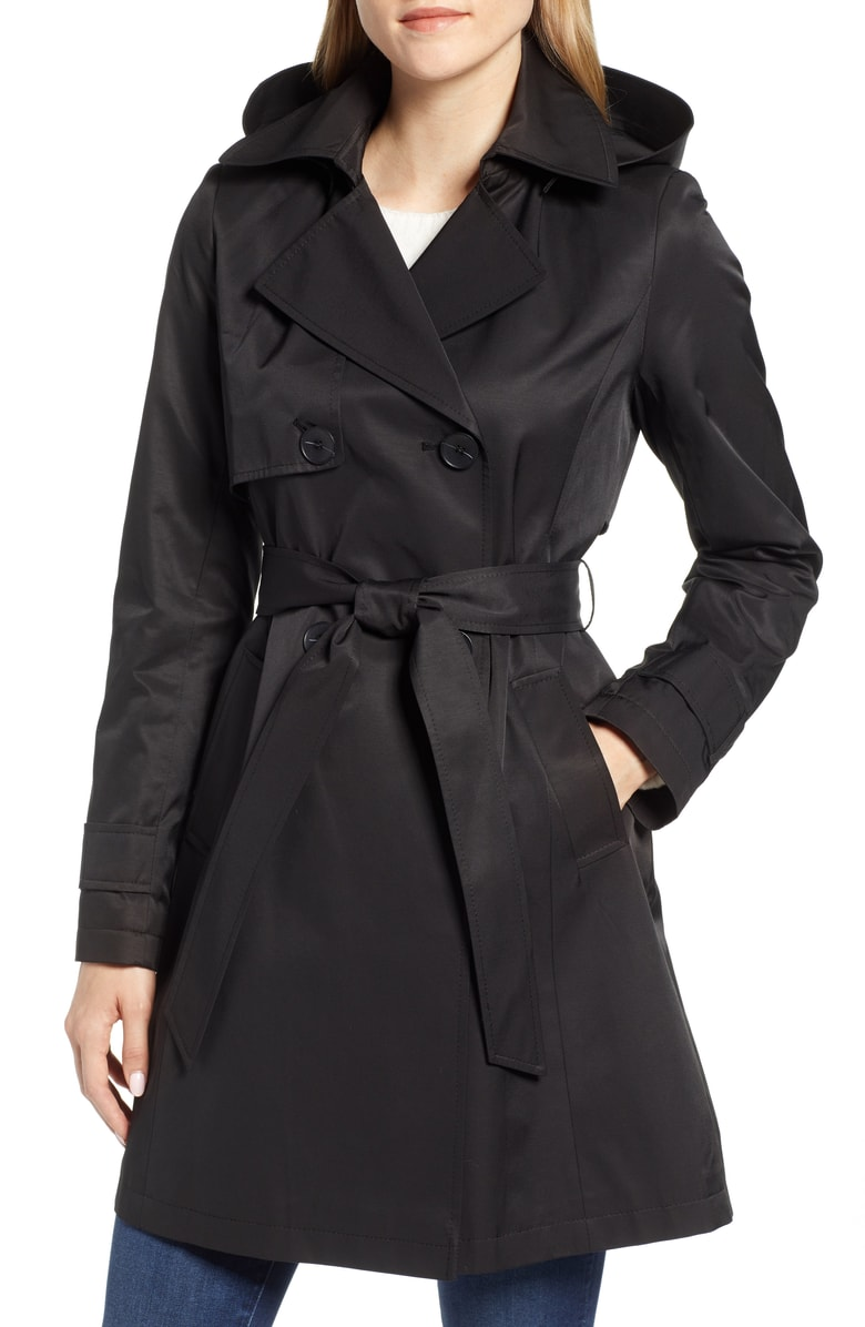 Women Classic Hooded Trench Coat