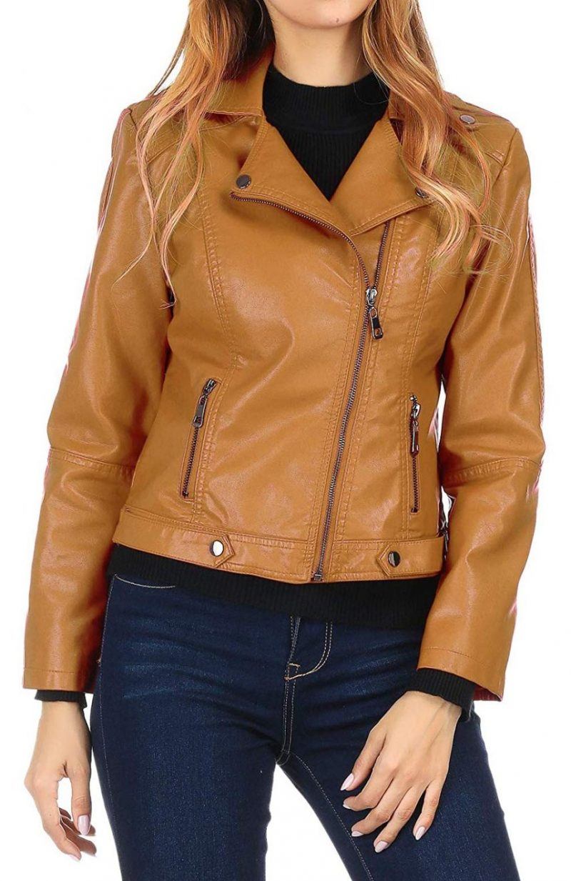 Ten Brown Color Casual Style Leather Jacket
