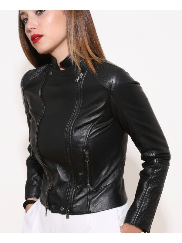 Classic Style Biker Leather Jacket for Woman