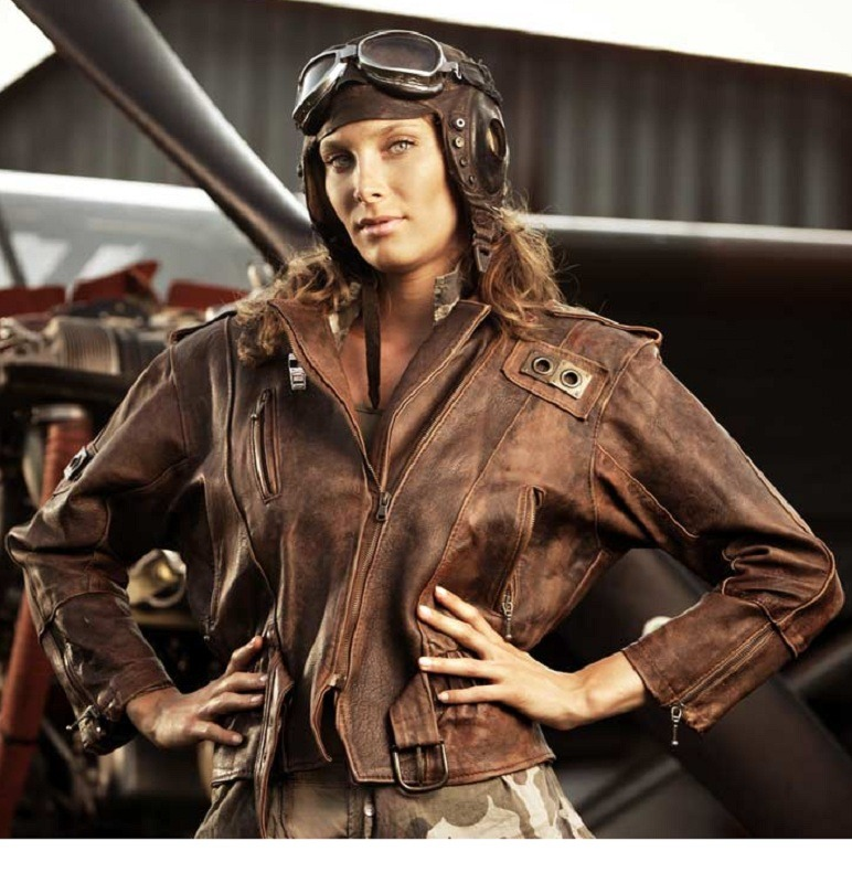Women Elegant Style Fighter Pilot Distressed Leather Jacket