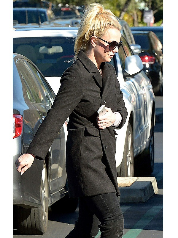 Singer Britney Spears Black Wool Coat