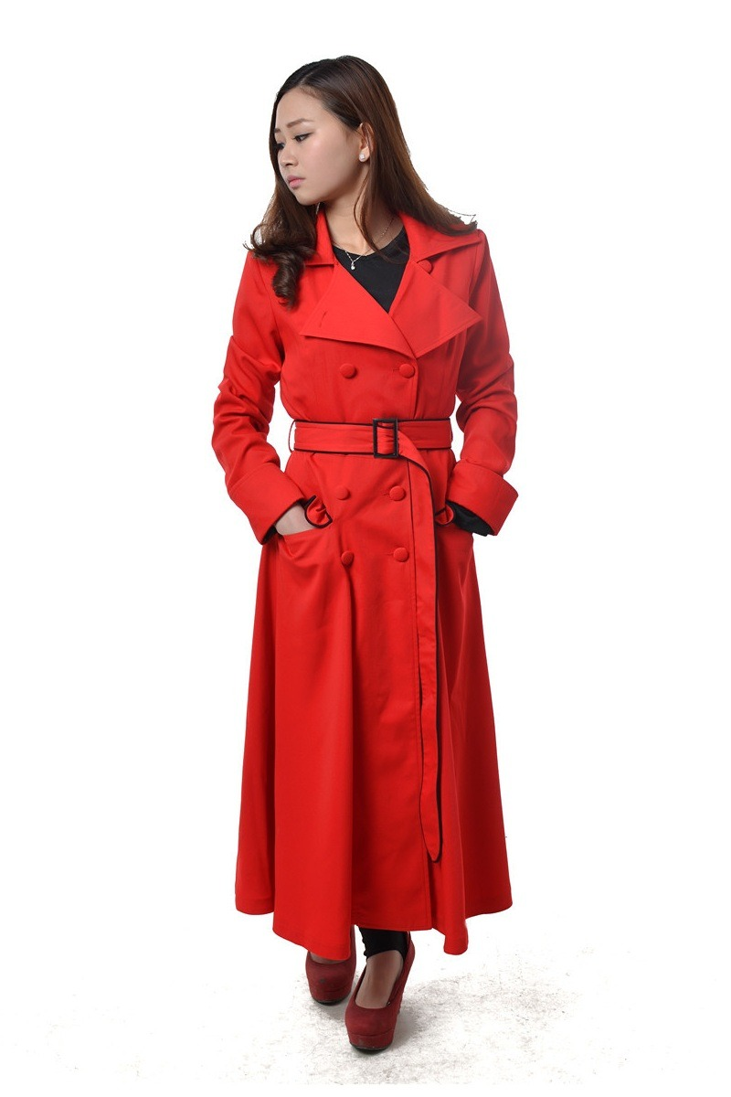 Ladies Classic Double Breasted Red Cotton Coat