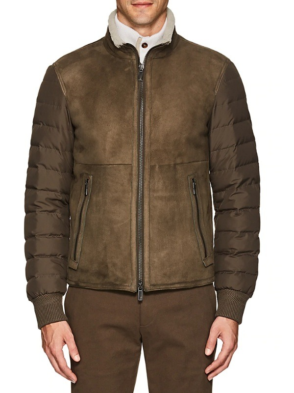 Instyle Suede & Shearling Bomber Jacket
