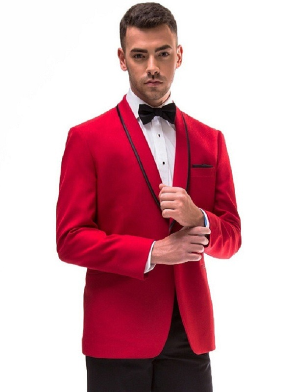 Raleigh Black Stripe Lapel Red Tuxedo Coat