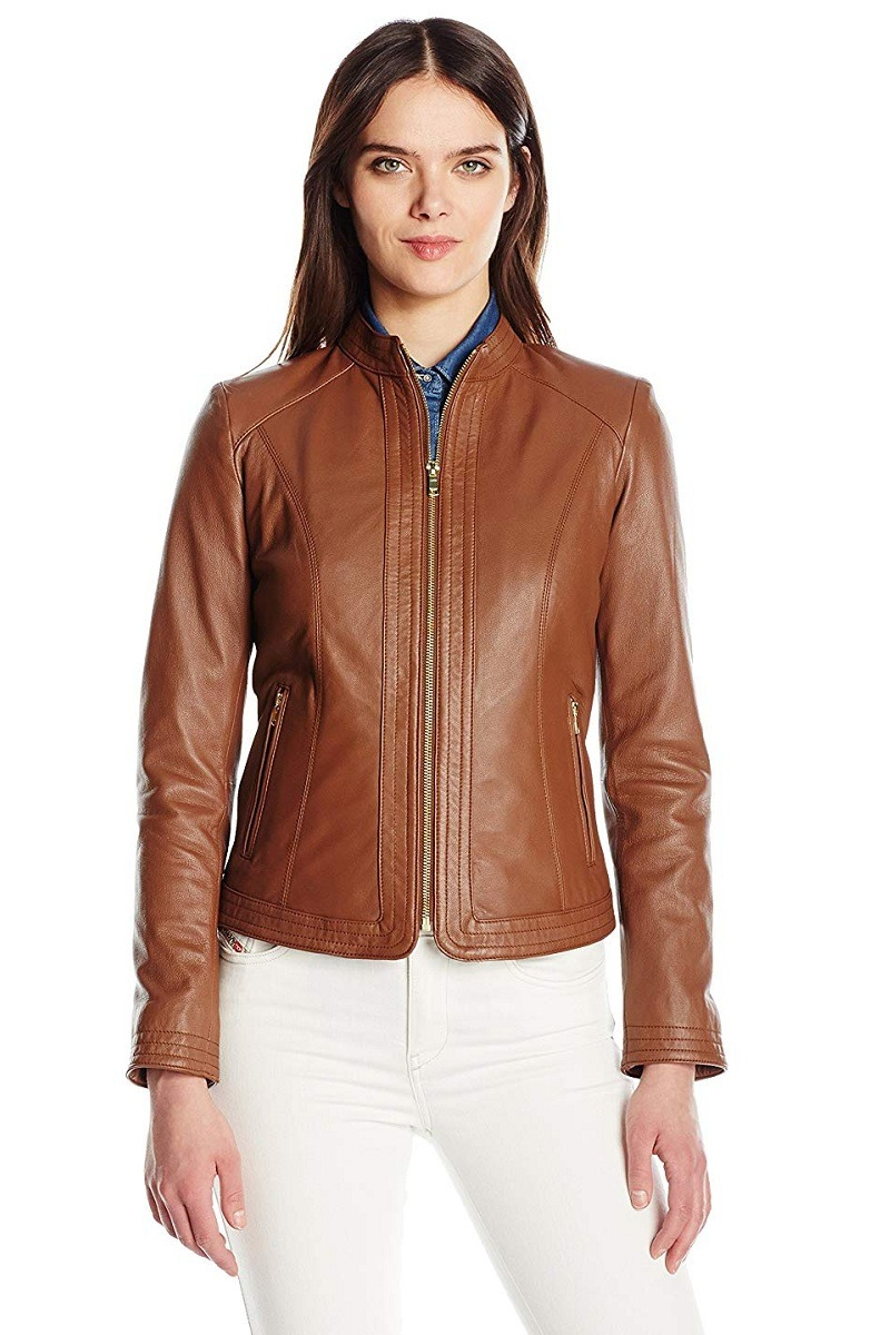 Women's Elegant Stitch Panel Leather Jacket