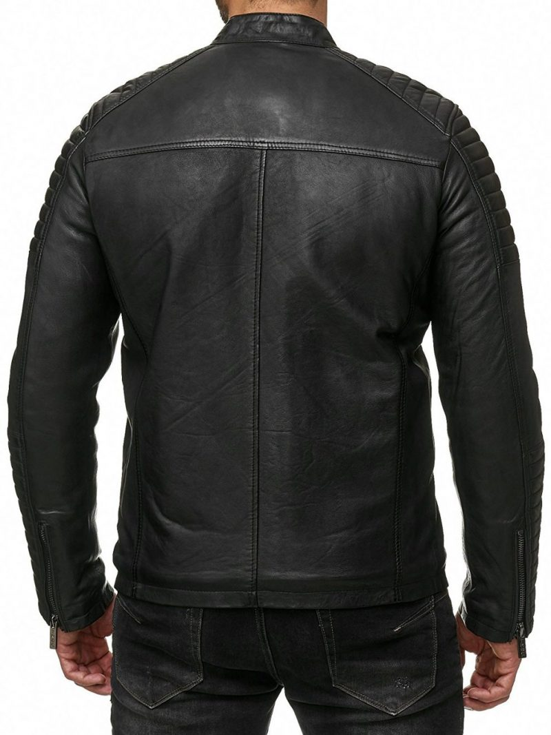 Men's Piped Sleeve Motorcycle Leather Jacket