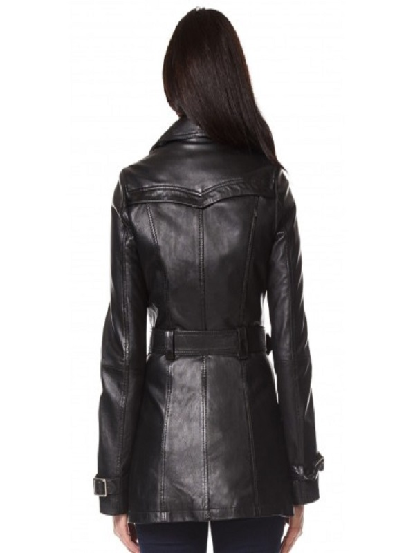 Black Leather Coat Claudia Black