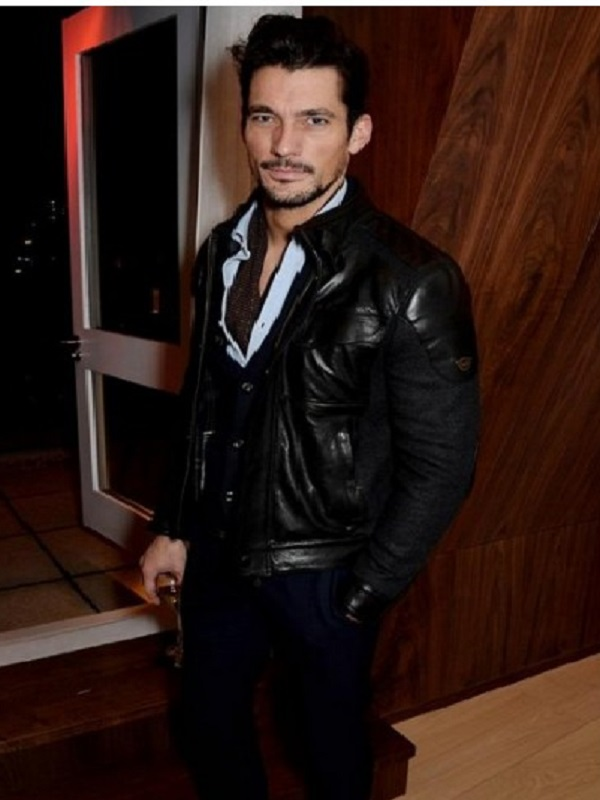 David Gandy Black Stylish Leather Jacket