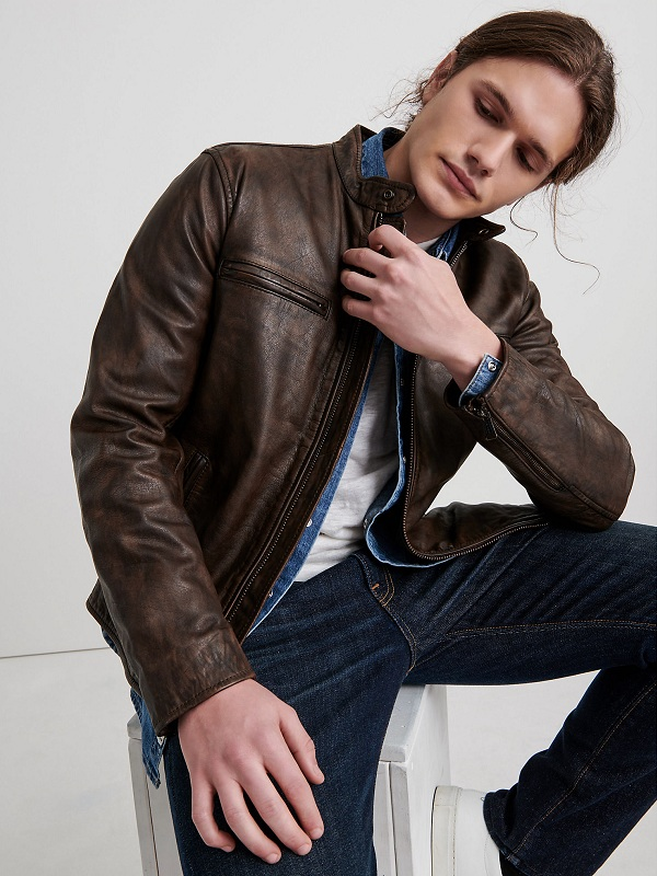 Men Vintage Style Leather Jacket
