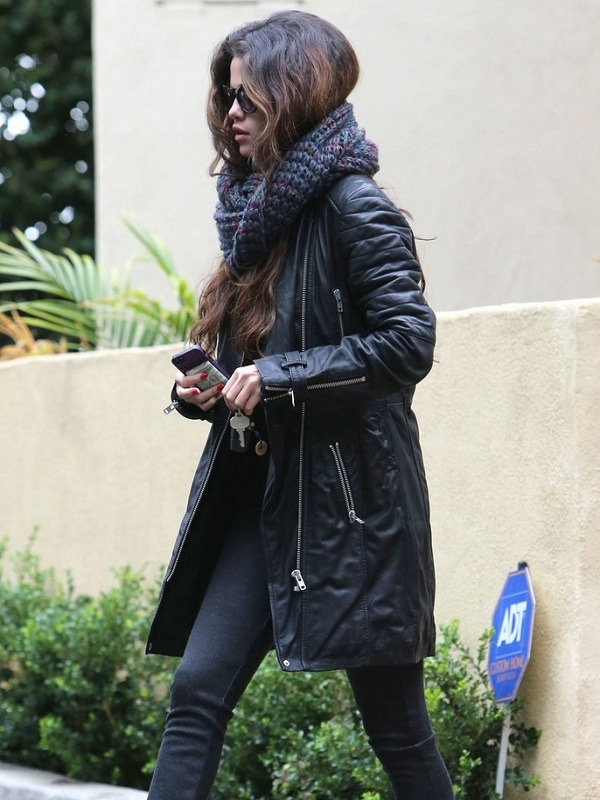 Selena Gomez Black Leather Coat