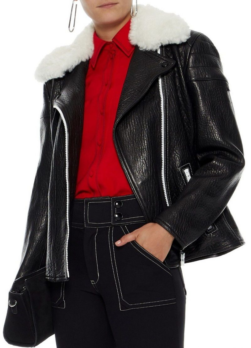 Women Trimmed Textured Shearling leather Biker Jacket