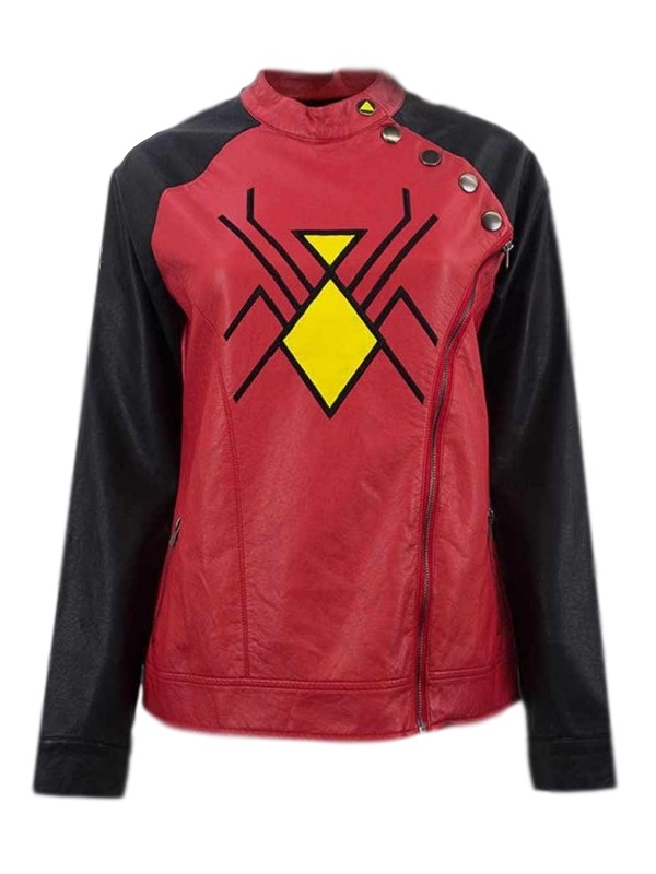 Woman Marvel Elegant Style Spider Logo Leather Jacket