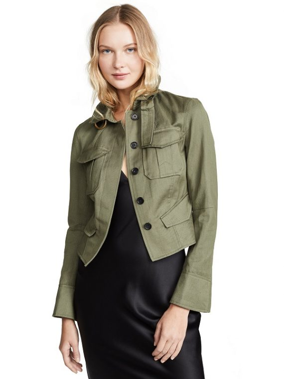 Women Classic Casual Style Oval Green Jacket