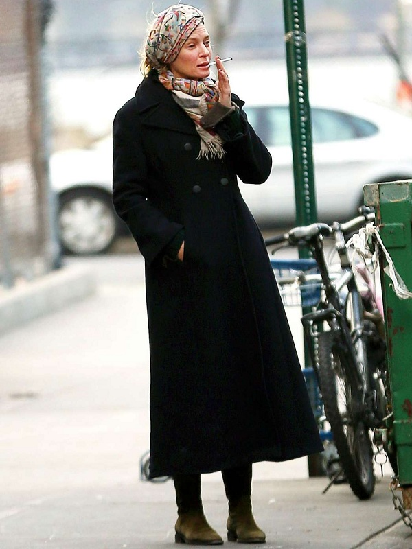Uma Thurman Double Breasted Trench Coat