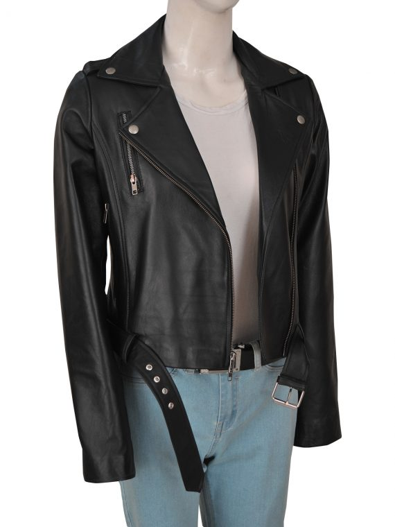 Classical Women Cry Baby Leather Jacket.