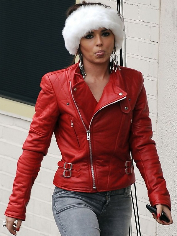 Cheryl Cole Red Biker Leather Jacket