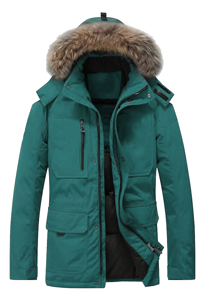 Men fur duck down winter jacket