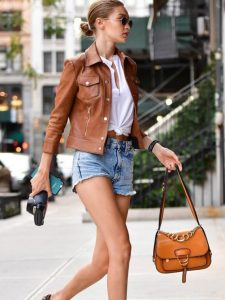 GIGI HADID BROWN LEATHER JACKET