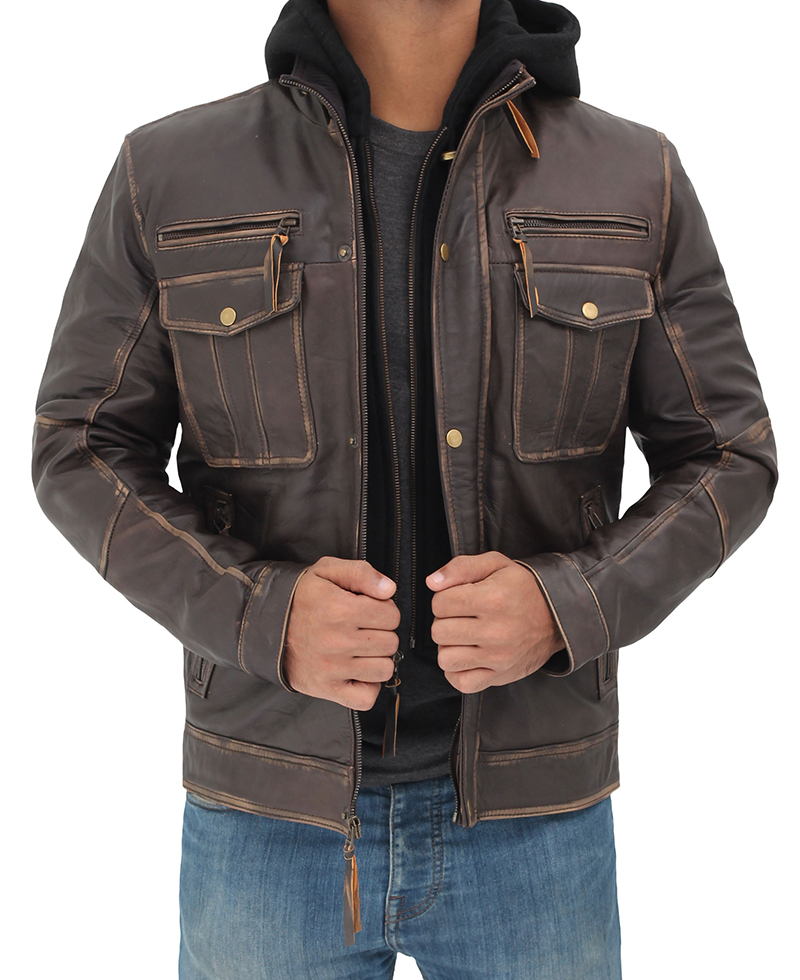 Fashion Faux Leather Hooded Jacket For Men
