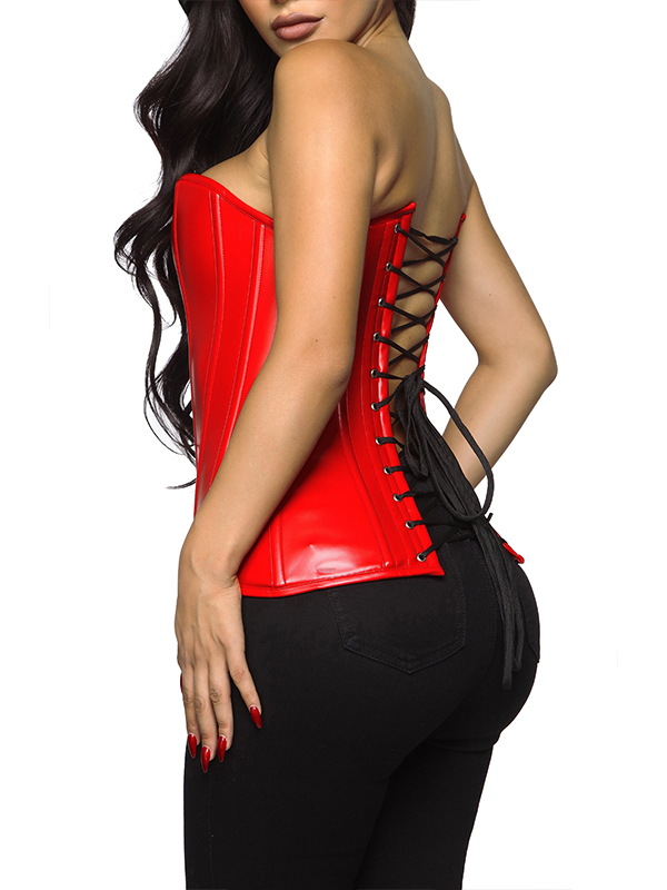 Women Running Through Lovers Faux Leather Red Corset