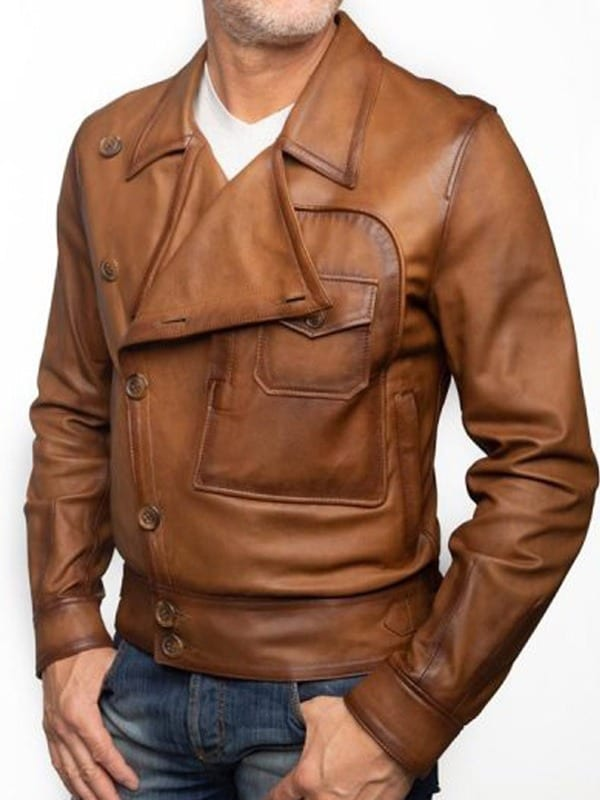 The Aviator Movie Leonardo DiCaprio Brown Leather Jacket