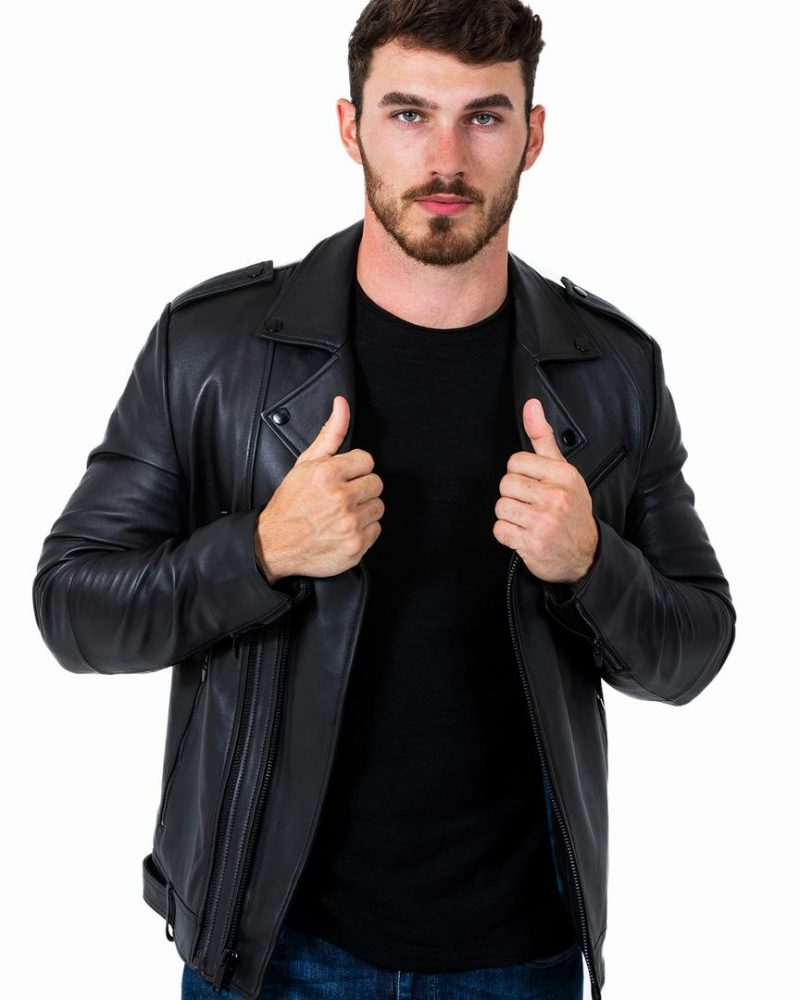 Men's Bold Black Motto Leather Jacket