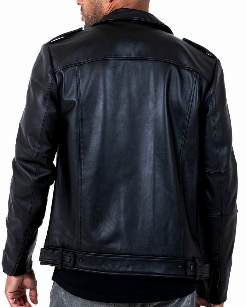 Men's Bold Black Motto Leather Jacket,back