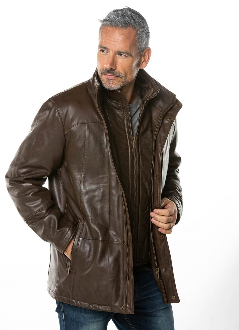 Men's Dark Brown Sassy Leather Coat