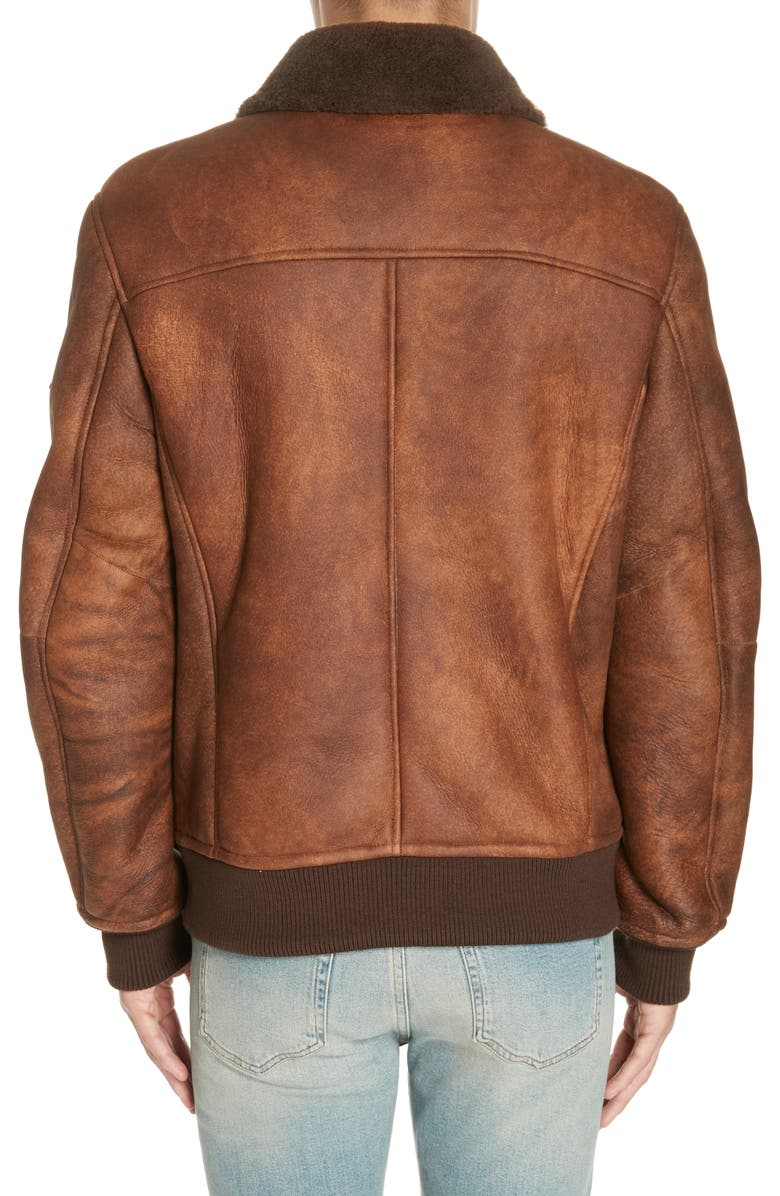 Men's Trendy Brown Shearling Leather Jacket, back