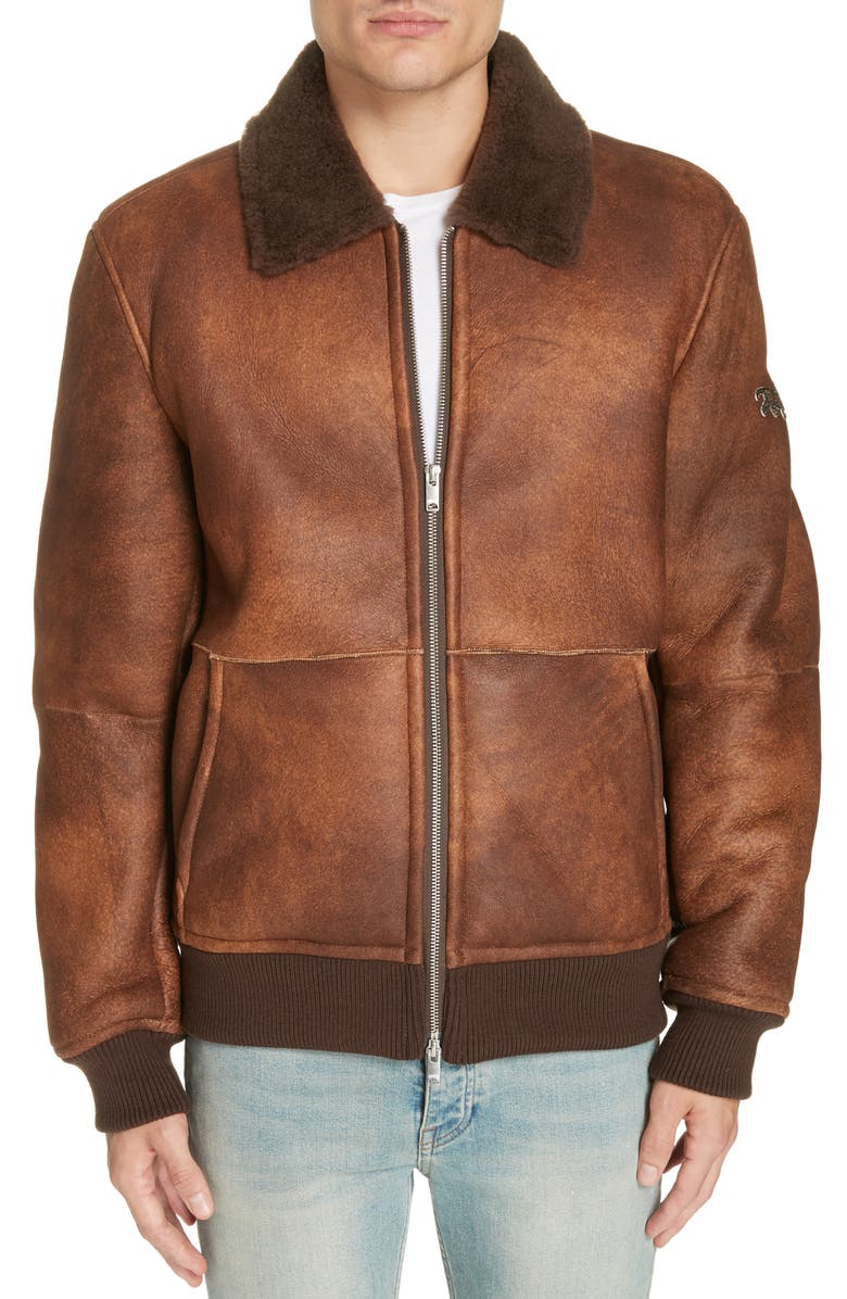 Men's Trendy Brown Shearling Leather Jacket