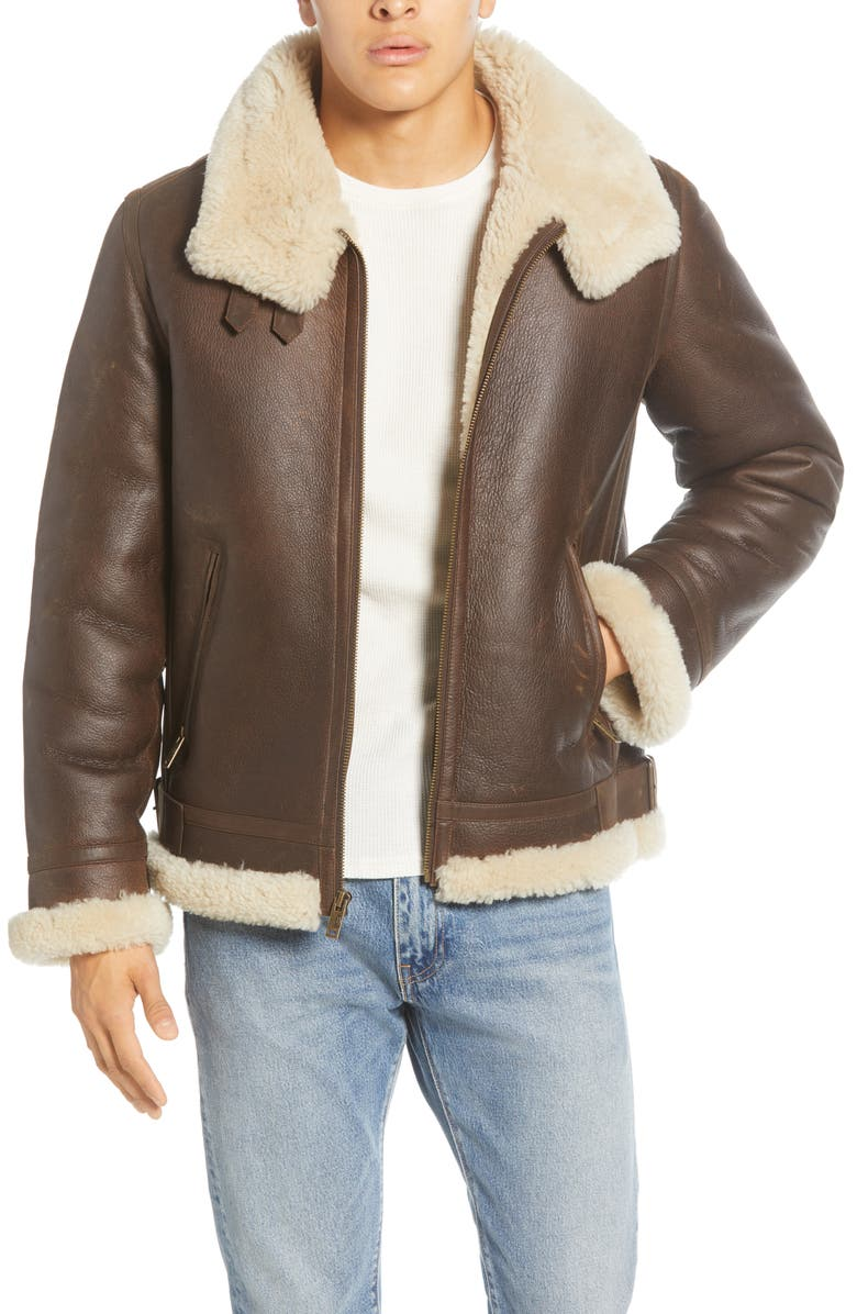 Men's Velvetty Brown Shearling Leather Jacket